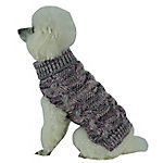 Pet Life Royal Bark Heavy Cable Knitted Designer Fashion Dog Sweater, Large, Light Brown, Tangerine and Grey
