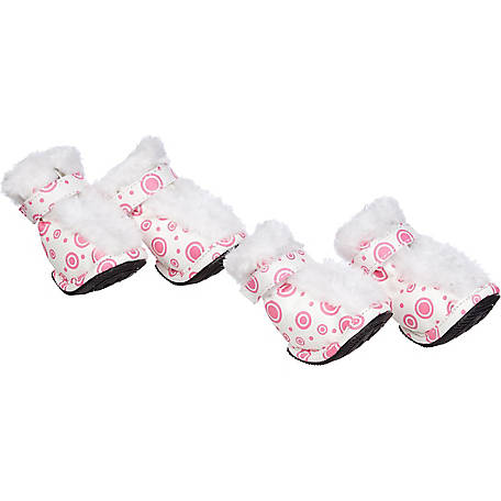 Pet Life Fashion Plush Premium Fur-Comfort PVC Waterproof Supportive Pet Shoes