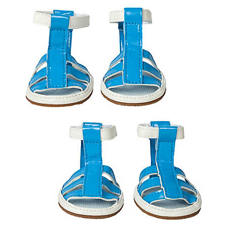 Pet Life Buckle-Supportive PVC Waterproof Pet Sandals Shoes, Set of 4