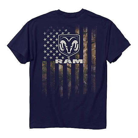 Dodge RAM Men's Camo American Flag Graphic T-Shirt