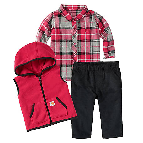 Carhartt Girls' Flannel 3-Piece Set