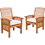 Walker Edison Acacia Patio Chairs with Cushions, Set of 2