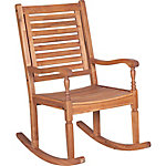 Walker Edison Solid Acacia Wood Rocking Patio Chair, Dark Brown