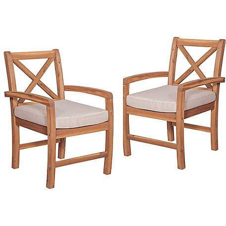 Walker Edison X-Back Acacia Patio Chairs with Cushions, Set of 2