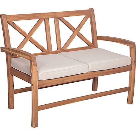 Walker Edison Acacia Wood X-Back Love Seat with Cushions, Brown