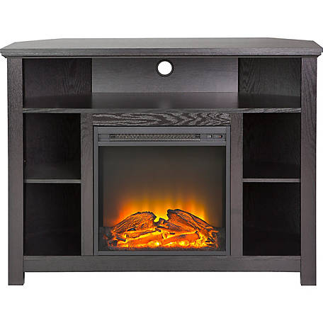 Walker Edison 44 In Wood Corner Highboy Fireplace Tv Stand At