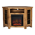 Walker Edison 48 in. Wood Corner Fireplace Media TV Stand Console
