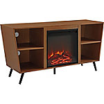 Walker Edison 52 in. Angled Side Fireplace Console with Metal Legs