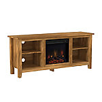 Walker Edison 58 in. Wood TV Stand Console with Fireplace