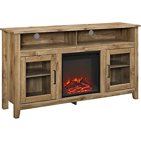 Walker Edison 58 in. Wood Highboy Fireplace Media TV Stand Console