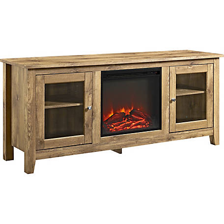 Walker Edison 58 in. Wood Media TV Stand Console with Fireplace