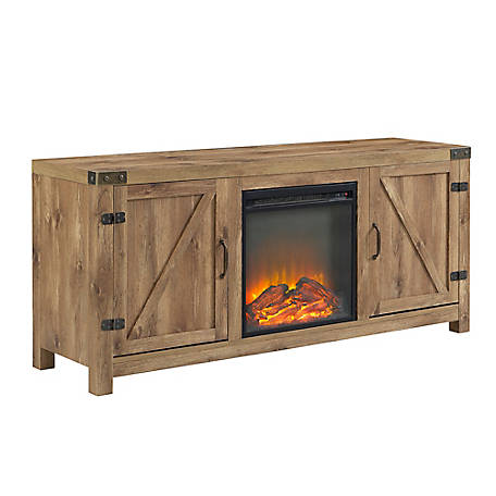 Walker Edison 58 in. Barn Door Fireplace TV Stand