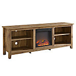 Walker Edison 70 in. Wood Media TV Stand Console with Fireplace