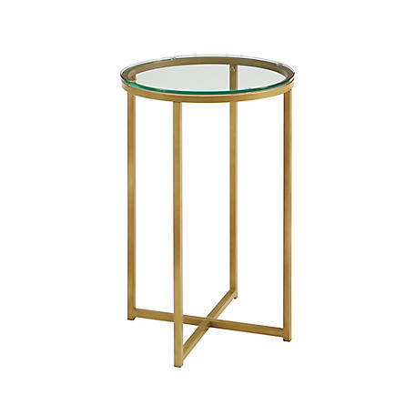 Walker Edison Glass Round Side Table