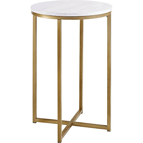 Walker Edison 16 in. Faux Marble Round Side Table, Gold
