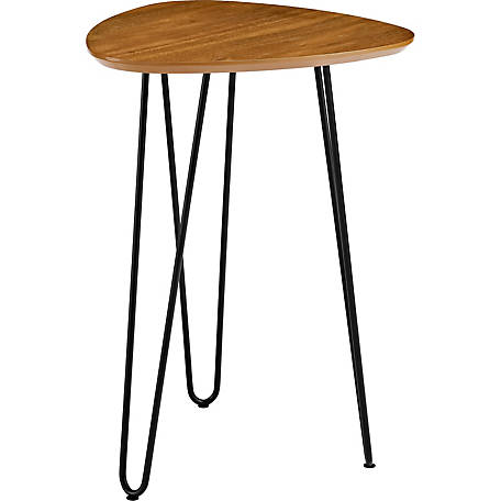 Walker Edison 18 in. Hairpin Leg Wood Side Table, Walnut