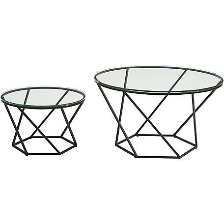 Walker Edison Geometric Glass Nesting Coffee Tables