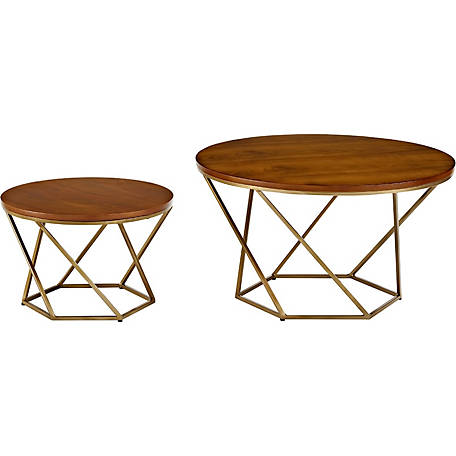 Walker Edison Geometric Wood Nesting Coffee Tables