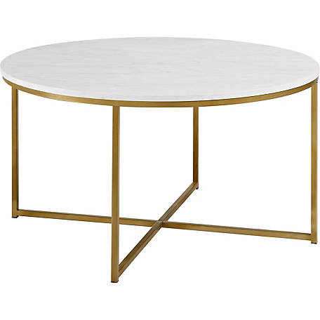 Walker Edison 36 in. Faux Marble Coffee Table with X-Base, Gold