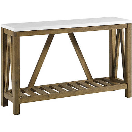 Walker Edison 52 in. A-Frame Rustic Entry Console Table, Walnut