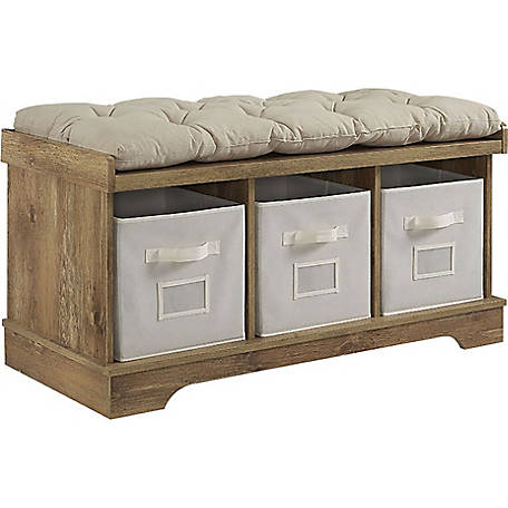 Walker Edison Wood Storage Bench With, Wood Bench With Storage And Cushion