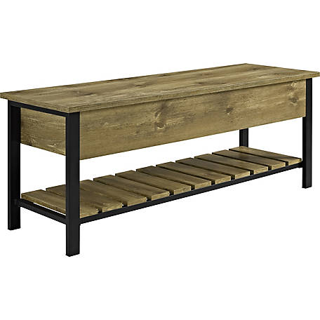 Walker Edison 48 in. Open-Top Storage Bench with Shoe Shelf
