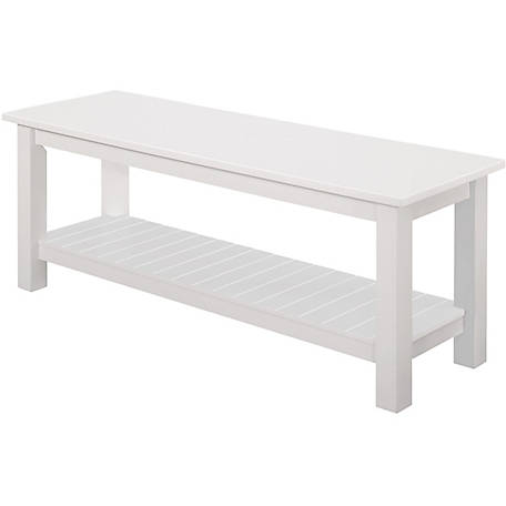 Walker Edison 50 in. Country Style Entry Bench with Slatted Shelf