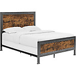 Walker Edison Queen Size Industrial Wood and Metal Bed