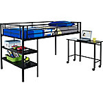 Walker Edison Premium Metal Twin Low Loft Bed with Desk