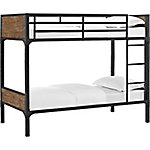 Walker Edison Twin over Twin Rustic Wood Bunk Bed, Brown