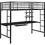 Walker Edison Premium Metal Twin Loft Bed with Wood Workstation- White
