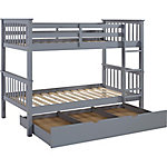Walker Edison Solid Wood Twin Bunk Bed with Trundle Bed