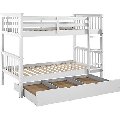 Walker Edison Solid Wood Twin Bunk Bed With Trundle Bed 250 Lb Weight Capacity Bwtotmswh Tr 1316516 At Tractor Supply Co