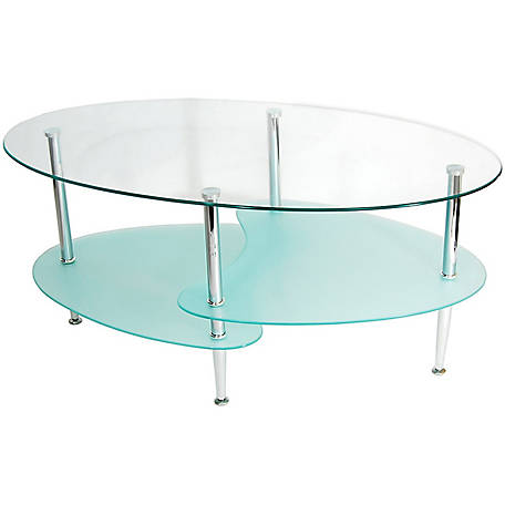 Walker Edison 38 in. Glass Oval Coffee Table