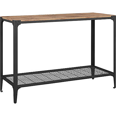 Walker Edison Angle Iron Rustic Wood Sofa Entry Table