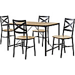 Walker Edison 5-Piece Angle Iron Wood Dining Set