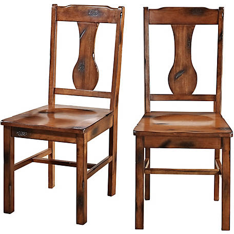 Peachy Walker Edison Distressed Dark Oak Wood Dining Chairs Set Of 2 At Tractor Supply Co Gmtry Best Dining Table And Chair Ideas Images Gmtryco