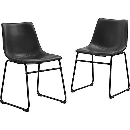 Walker Edison Faux Leather Dining Kitchen Chairs, Set of 2