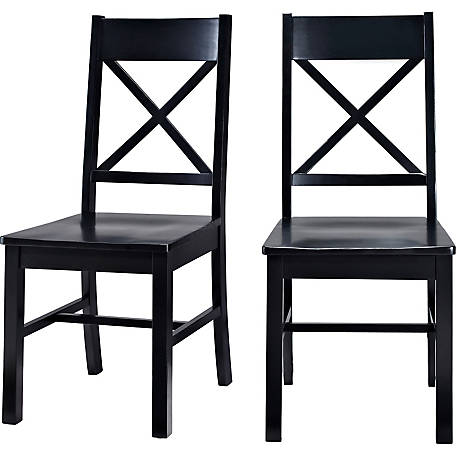 Walker Edison Antique Black Wood Dining Kitchen Chairs, Set of 2