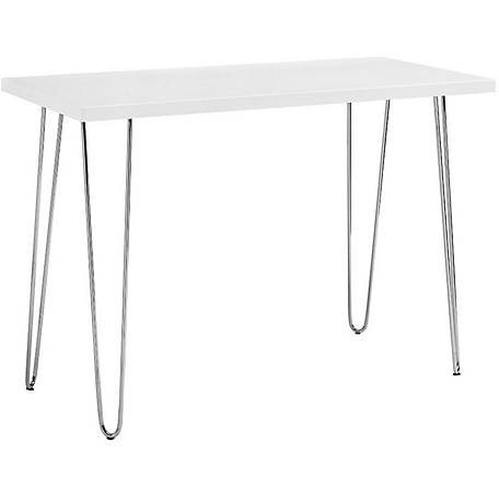 Walker Edison 42 in. Hairpin Leg Wood Writing Desk, White