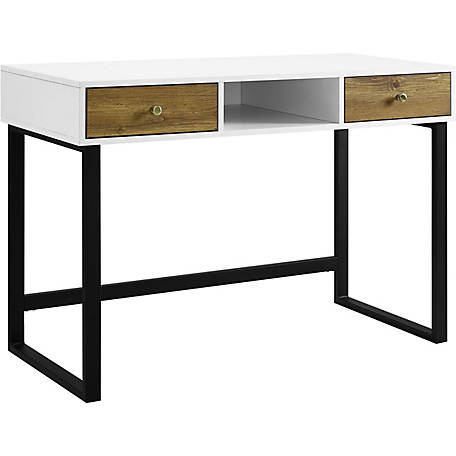 Walker Edison 44 in. Modern Two-Tone Desk With Barnwood Drawers, White