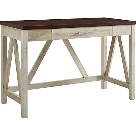 Walker Edison 46 in. A-Frame Desk, Natural Walnut Base/White Marble Top