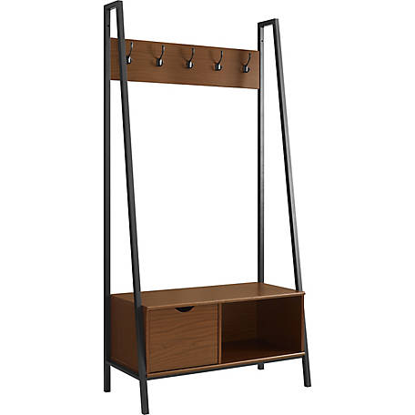 Walker Edison 72 in. Angled Metal and Wood Hall Tree with Drawer