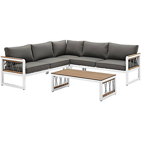 Walker Edison 4 Piece Outdoor Sectional With Cord Accents At Tractor