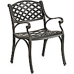 Walker Edison Antique Brown Cast Aluminum Patio Chairs, Set of 2