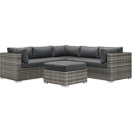Walker Edison 4-Piece Gray Multi-Shade Rattan Sectional with Cushions