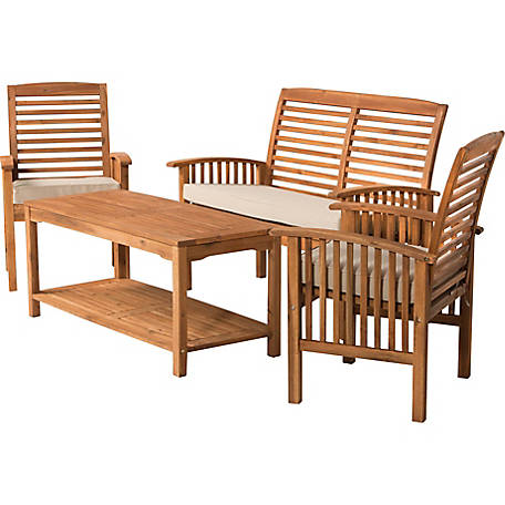 Walker Edison 4-Piece Dark Brown Acacia Patio Conversation Set with Cushions