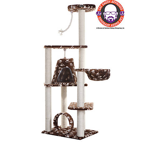 Armarkat Cat Tree, Model A6601, Saddle Brown W/White Paw Print