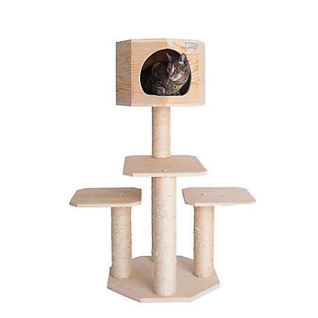 Armarkat Double Base Solid Wood 46 in. Cat Tree, Tower House, Model S4203