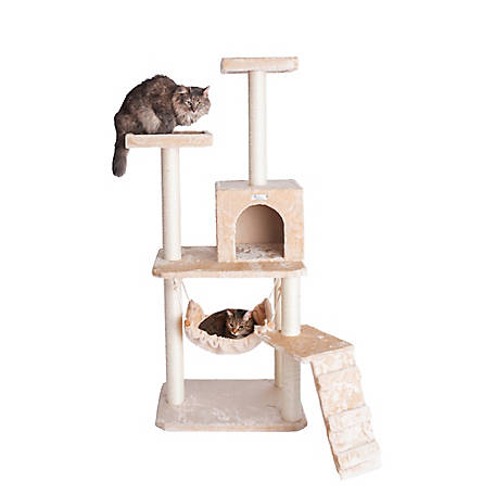 GleePet 57 in. Cat Tree, GP78570921, Beige with Ramp